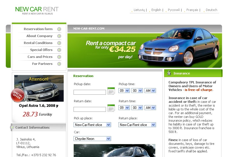 New Car Rent, Autonuoma